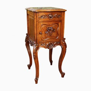 19th-Century French Marble and Walnut Bedside Table