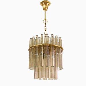 Lampadario in ottone e cristallo di Palwa, Germania, anni '60