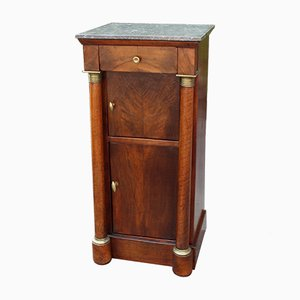 19th-Century French Empire Marble and Walnut Bedside Table