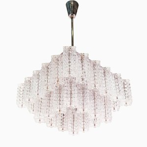 Austrian Chrome Plating and Glass Chandelier from Austrolux, 1960s