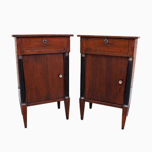 19th-Century Empire Italian Walnut Bedside Tables, Set of 2