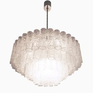 Large German Murano Glass Tube Chandelier from Doria Leuchten, 1960s