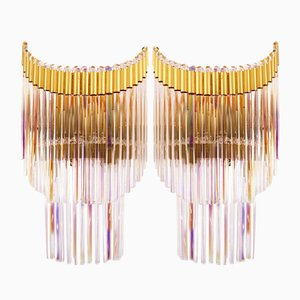 Italian Industry Leaves Sconces from Industria Veneziana Lampadari, 1970s, Set of 2