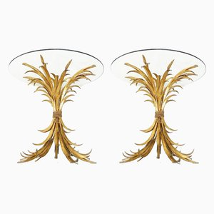 French Crystal and Metal Side Tables from Maison Jansen, 1960s, Set of 2