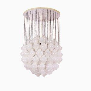 Lampada da soffitto grande in legno e vetro soffiato di J. T. Kalmar, anni '60