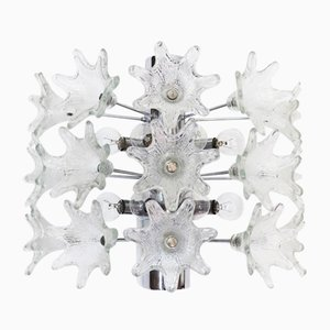Große italienische Sputnik Wandlampe in Blumen-Optik aus Chrom & Muranoglas von Paolo Venini für VeArt, 1960er