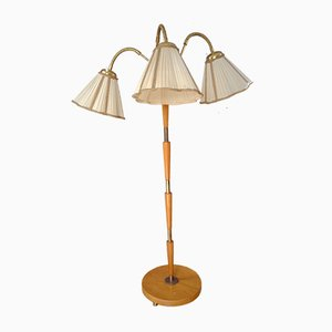Mid-Century Brass and Textile Triple-Arm Floor Lamp, 1940s