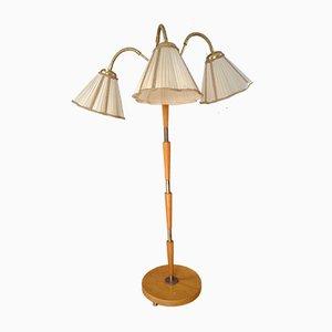 Mid-Century Dreibein Stehlampe aus Messing & Stoff, 1940er