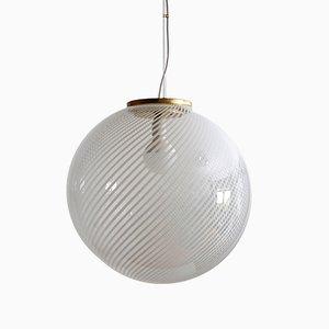 Lámpara de techo italiana de latón y cristal de Murano, años 70