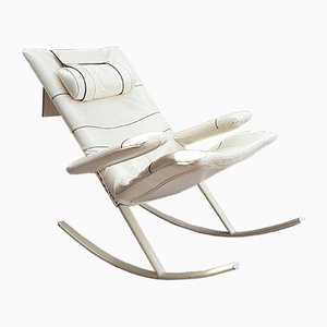 Italian Modern Leather and Steel Rocking Chair from Jori, 1960s