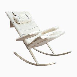 Sedia a dondolo moderna in acciaio e pelle di Jori, Italia, anni '60