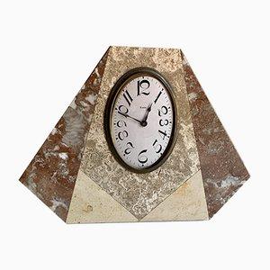 Reloj francés Art Déco vintage de latón y mármol, años 20
