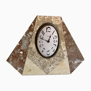 Vintage Art Deco French Brass and Marble Clock, 1920s