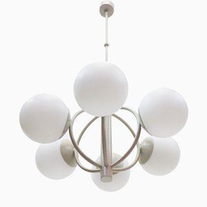 German Metal and Opaline Glass Chandelier from Kaiser Idell/Kaiser Leuchten, 1960s