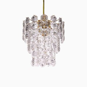 German Brass and Crystal Waterfall Chandelier from Kinkeldey, 1960s