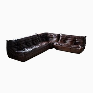 French Leather Modular Sofa Set by Michel Ducaroy for Ligne Roset, 1970s