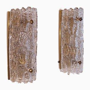 Applique vintage in ottone dorato e cristallo di Carl Fagerlund per Orrefors