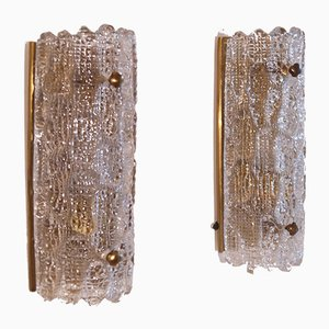 Vintage Scandinavian Brass & Crystal Sconces by Carl Fagerlund for Orrefors