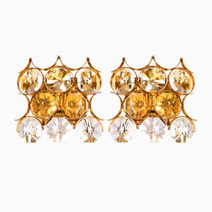 German Gold-Plated Brass and Crystal Sconces from Palwa, 1960s, Set of 2