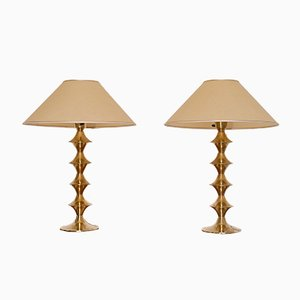 Swedish Brass Lamps by Claes Borje, 1960s, Set of 2