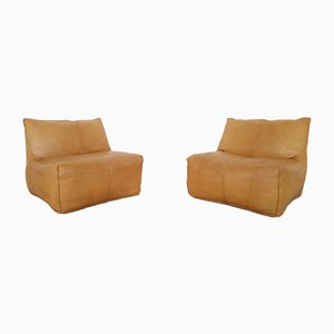 Italian Leather Le Bambole Lounge Chairs by Mario Bellini for B&B Italia / C&B Italia, 1970s, Set of 2