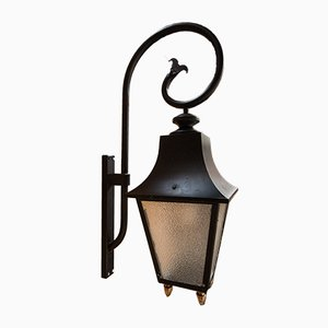 Mid-Century French Antiqued Glass and Iron Outdoor Lantern, 1950s