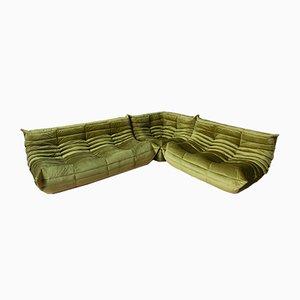 French Velvet Modular Sofa Set by Michel Ducaroy for Ligne Roset, 1970s