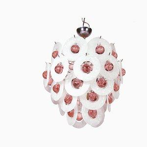 Italienischer Kronleuchter aus pinkem Muranoglas, Chrom & Eisglas von Vistosi, 1960er