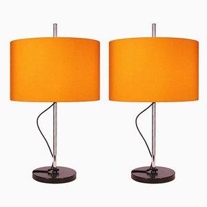 Verstellbare deutsche orangefarbene Tischlampen von Staff, 1960er, 2er Set