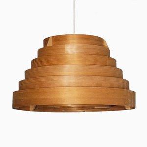 Lampe à Suspension Vintage en Bois par Hans Agne Jakobsson