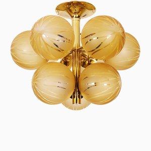 Schweizer Cluster Deckenlampe aus Messing & Glas von Max Bill für Temde, 1960er