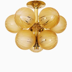 Swiss Brass and Glass Cluster Flush Mount Ceiling Lamp by Max Bill for Temde, 1960s
