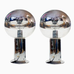 Vintage Mirror Glass and chrome Table Lamps by Motoko Ishii for Staff, 1970s, Set of 2