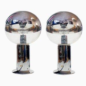 Vintage Tischlampen aus Spiegelglas & Chrom von Motoko Ishii für Staff, 2er Set