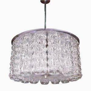 Lámpara de araña austriaca en forma de tambor de vidrio y cromo de Kalmar, años 50