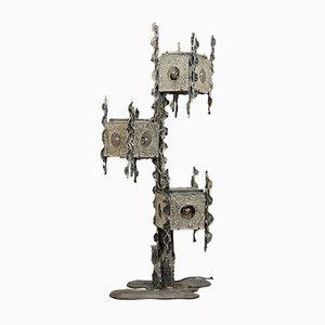 Brutalistische italienische Stehlampe aus Eisen & Muranoglas von Marcello Fantoni, 1970er