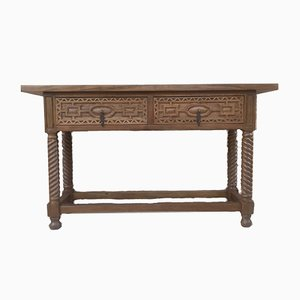 19th-Century Spanish Iron and Carved Walnut Console Table