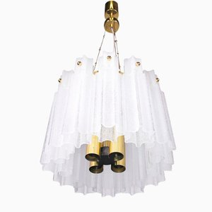 German Brass & Frosted Glass Chandelier from Glashuette Limburg, 1960s