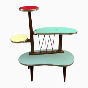 Large Mid-Century French Wood and Formica Plant Stand, 1950s