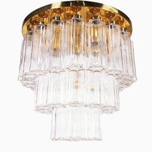 Large German Brass and Glass Flush Mount Chandelier from Glashuette Limburg, 1960s