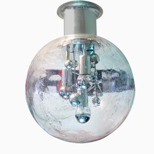 Space Age German Chrome and Glass Globe Flush Mount Ceiling Lamp from Doria Leuchten, 1970s