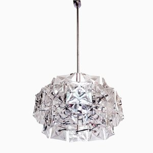 German Chrome Plating and Crystal Chandelier from Kinkeldey, 1960s