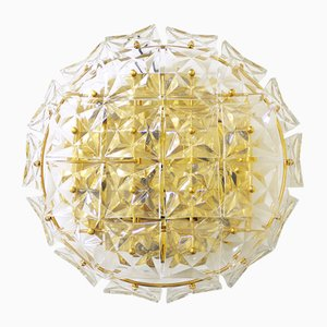 German Crystal and Gold Plating Ceiling Lamp from Kinkeldey, 1960s
