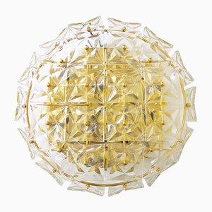 Lampada da soffitto in cristallo e placcata in oro di Kinkeldey, Germania, anni '60