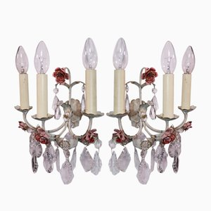 Italian Tole 3-Light Sconces, 1940s, Set of 2