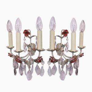 Italienische Mid-Century Tole Wandlampen mit 3 Leuchten, 1940er, 2er Set