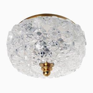 Deutsche Deckenlampe aus Glas und Metall von Glashutte Limburg, 1960er