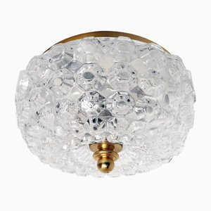German Glass and Metal Ceiling Lamp from Glashuette Limburg, 1960s