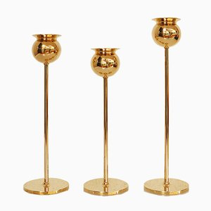 Brass Tulip Candle Holders by Pierre Forssell for Skultuna, 1970s, Set of 3