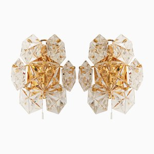 German Gold-Plated Brass and Faceted Crystal Sconces from Kinkeldey, 1970s, Set of 2